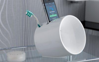 Eco portaspazzolini diffusore musicale in ceramica